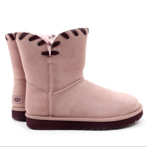 56826ce0122 UGG Aidah Dusk Pink Grommet Classic Short Boots Boutique